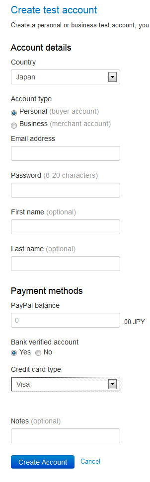 PayPal Sandbox create account