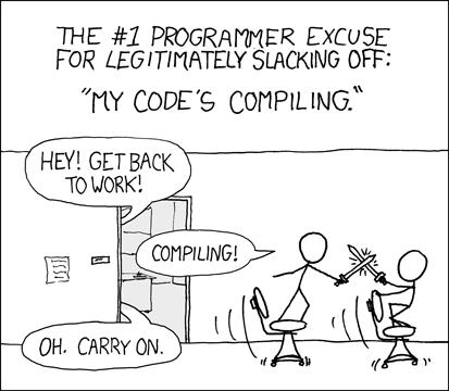 うう、JITのせいでこの言い訳が使えなくなってしまいました。今後の言い訳には「AoT設定をデバッグ中」とか「ETLスクリプトを実行中」がおすすめです。この手もまだ使えます。